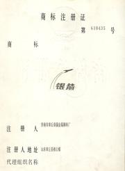 银箭铝银浆商标注册证